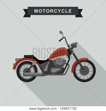 Chopper motorcycle in flat style. Vector illustration of red american chopper.