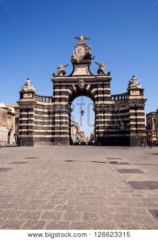 CATANIA ITALY - MARCH 31: View of the Giuseppe Garibaldi triumphal arch on March 31 2016