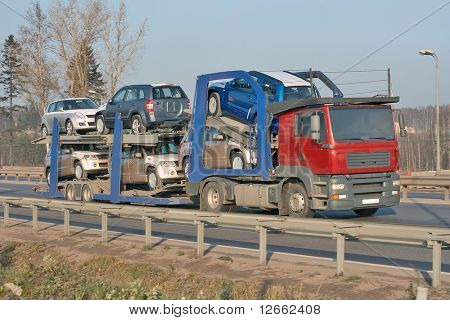 car carrier truck deliver new auto