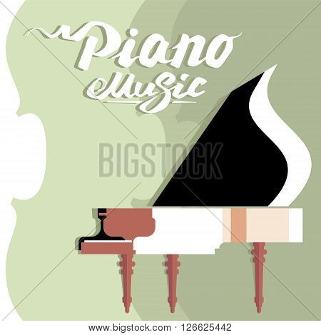 Template billboard music concert, piano and lettering