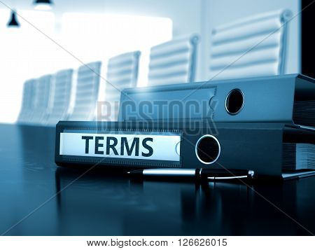 Terms - Binder on Black Desktop. Terms - Illustration. Terms - Business Concept on Blurred Background. Binder with Inscription Terms on Wooden Desk. Toned Image. 3D Rendering.