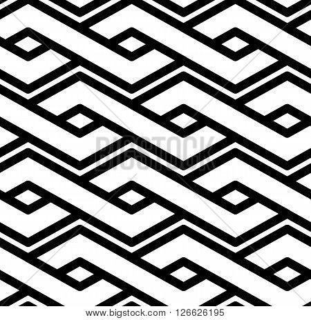 Black And White Abstract Textured Geometric Seamless Pattern. Symmetric Monochrome Vector Textile Ba