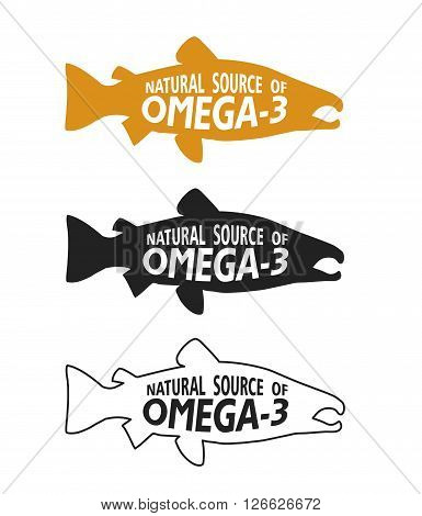 Omega 3 Symbol. Vector Illustrations Icon On A White Background. Omega 3 Foods. Omega 3 Supplements. Omega 3 Fish Oil. Omega 3 Fatty Acid. Omega 3 Food Sources. Omega 3 Carboxylic Acids.