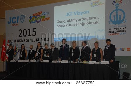 ANKARA/TURKEY-SEPTEMBER 12, 2015: JCI (Junior Chamber International) board of directors at ATO Congresium Hall for the General Assembly of JCI Turkey 2015. September 12, 2015-Ankara/Turkey