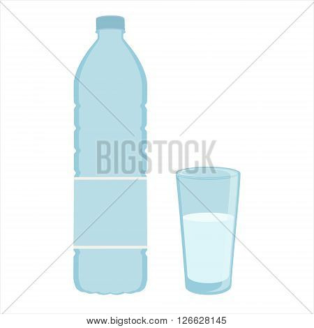 Vector illustration drinking water in plastic bottle and glass of clean water. Glass and plastic bottle icon