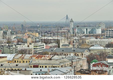 Kiev Ukraine - November 6 2010: view to the district of Podil and Moscow Bridge