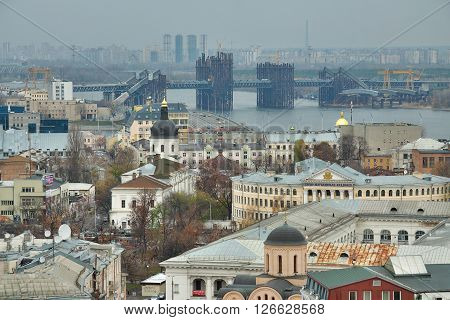Kiev Ukraine - November 6 2010: view to the district of Podil