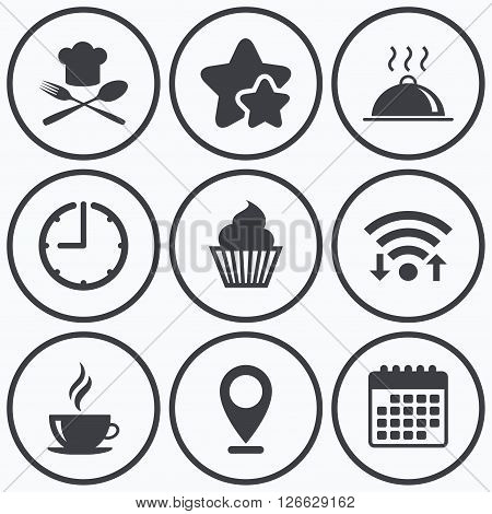 Clock, wifi and stars icons. Food and drink icons. Muffin cupcake symbol. Fork and spoon with Chef hat sign. Hot coffee cup. Food platter serving. Calendar symbol.