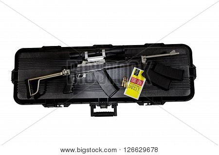 Assault Combat Automatic Rifle High Capacity With Scope And Case
