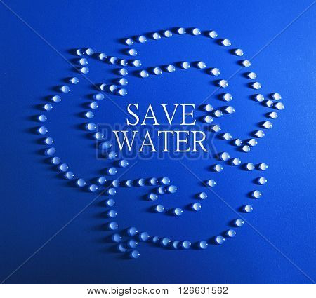 Save water concept. Recycle sign made of water drops and text on blue background