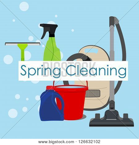 Vector illustration spring cleaning with cleaning equipment. Housework appliance - bucket vacuum cleaner bottle spray and window squeegee. Spring cleaning background card