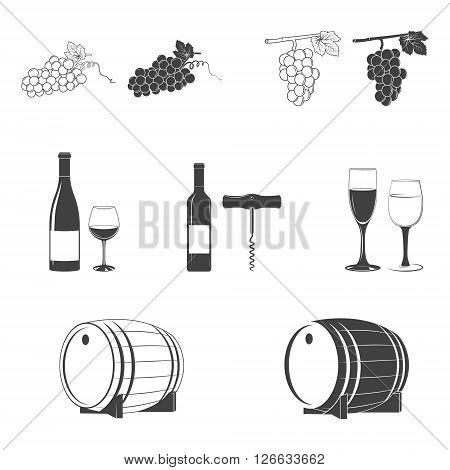 Wine icons. Wine icon art, wine icon eps, wine icon image, wine icon logo, wine icon sign, wine icon silhouette, wine icon design elements. Vector EPS8 illustration.