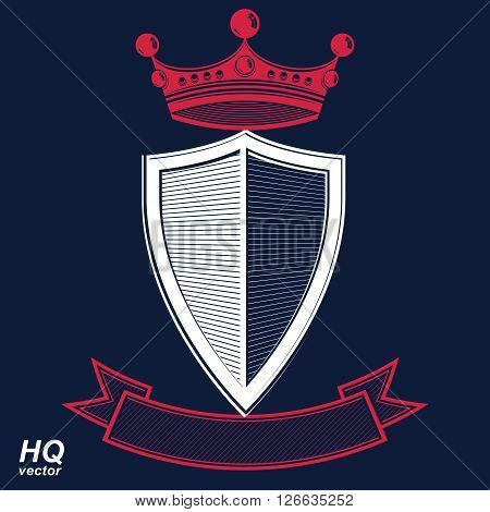 Empire design element. Heraldic royal coronet illustration, imperial striped decorative coat of arms. Luxury vector shield with king red crown and undulate festive ribbon.