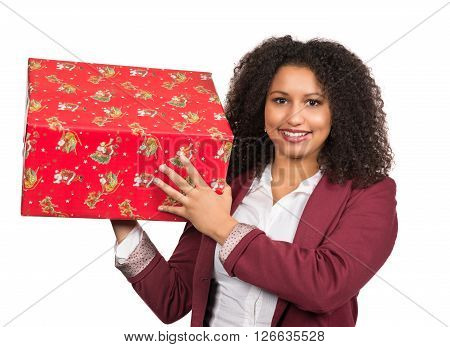 Cut out image of a young woman who is holding a christmas gift