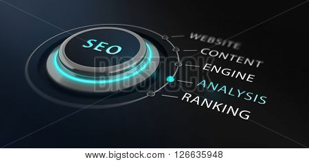 Modern design switch or button with the word SEO - Search Engine Optimizationon - on top surrounded by with the words website, content, engine, analysis and ranking with a black blurred backgorund.