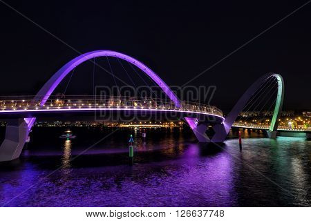 Elizabeth Quay bridge on the waterfront of Perth in Western Australia