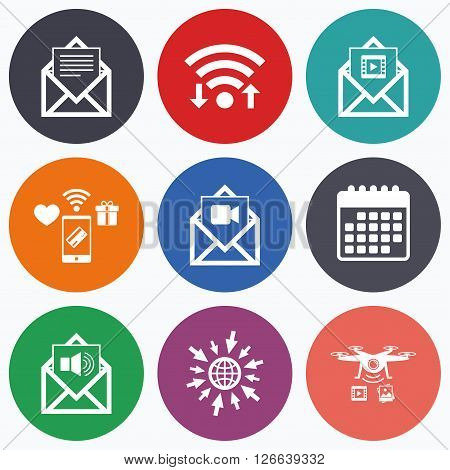 Wifi, mobile payments and drones icons. Mail envelope icons. Message document symbols. Video and Audio voice message signs. Calendar symbol.