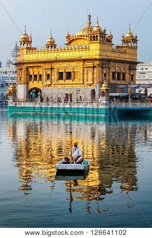 AMRITSAR, INDIA - AUGUST 26, 2011: Golden Temple Sri Harmandir Sahib Gurdwara in Amritsar, Punjab, India.  Golden Temple is the main temple and holiest Gurdwara of Sikhism religion