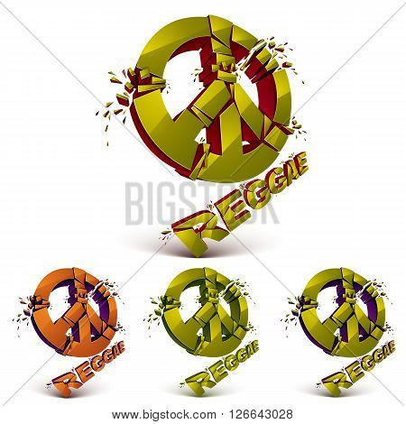 Green And Orange 3D Vector Peace Signs Collection Created From Refractions Isolated On White. Set Of