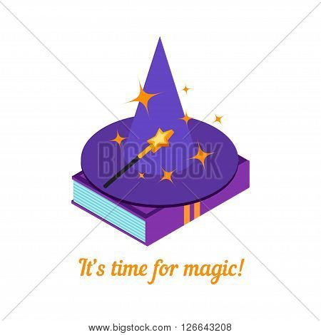 Isometric magic hat isolated on a white background. Magic wand and hat on a book. Magic background. Vector illustration.