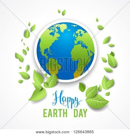 Eco image with globe for design banner,ticket, leaflet and so on.Template page for Earth day. Holiday card.