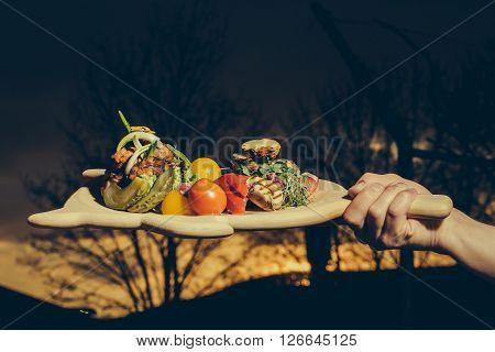 Grilled Vegetables On Board
