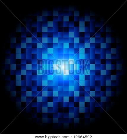 Vector mosaic with blue squares on black background poster