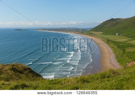 Rhossili beach The Gower peninsula South Wales UK one of the best beaches in the uk