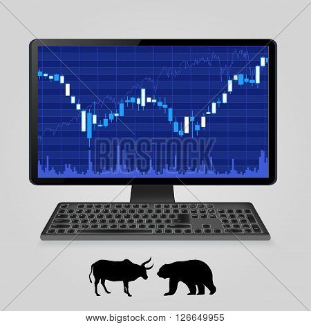 Stock exchange online forex trading concept - computer monitor with stock charts on screen , silhouettes of bear and bull. Vector illustration.