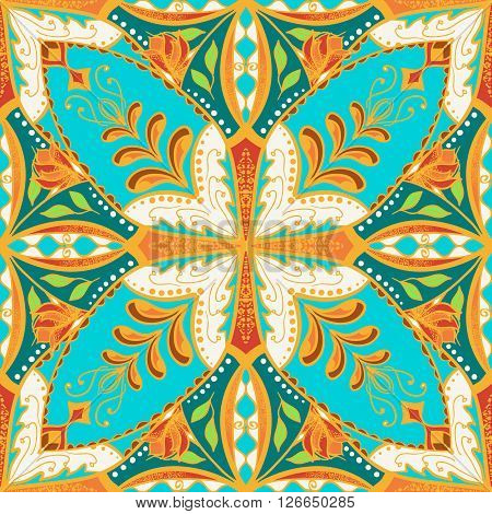 Vector beautiful colored pattern for design and fashion with decorative elements. Floral ethnic bandana. Portuguese tiles Azulejo Talavera Moroccan ornaments in blue and orange colors poster