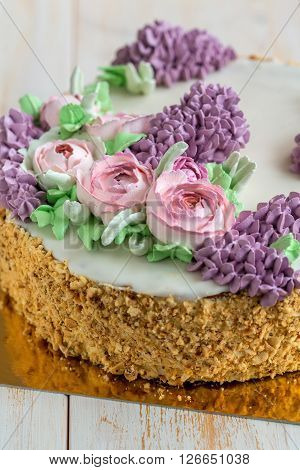 Cake With Spring Flowers Close-up.