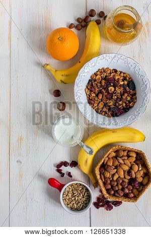 Healthy Homemade Granola With Nuts, Seeds And Honey.