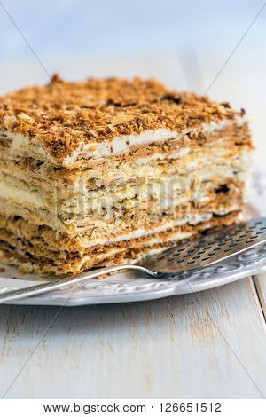 Cake From Flaky Pastry With Custard.