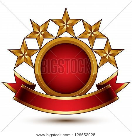 Vector glamorous round element with red filling 3d polished five golden stars symbol with festive ribbon. Dimensional decorative stars elegant shaped blazon. Eps8.