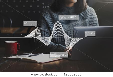 Woman Using Technology Graphic Interface Concept