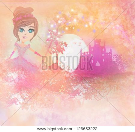 Magic Fairy Tale Princess Castle and little fairy , raster