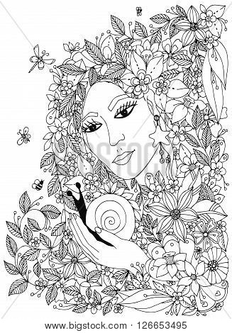 Beautiful woman with snail in the colors. Design for coloring book adults. Coloring page, zentangle style, hand drawn vector print. Black White.
