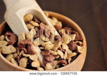 Assorti Breakfast Cereals In Wooden Bowl On Wooden Background