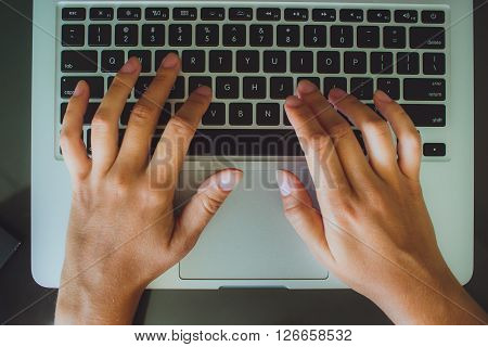 Female Hands Typing, Businesswoman Using Laptop