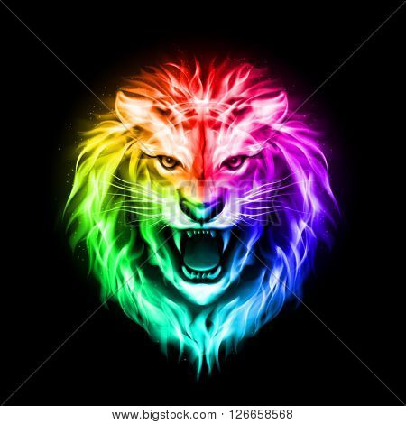 Head of aggressive fire lion in spectrum on black background
