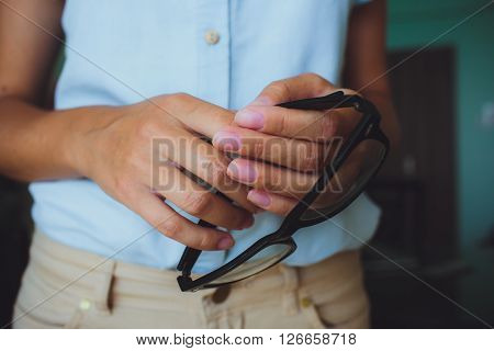 Human Hands Woman Holding Eyeglasses