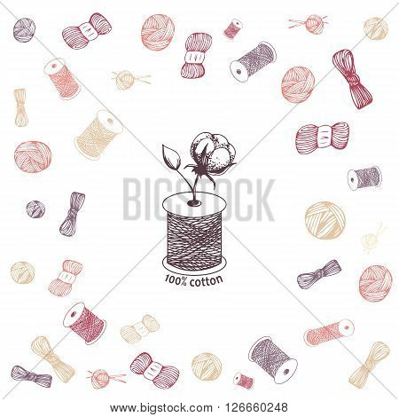 Hand drawn cotton flower in needle spool as hundred percents  cotton symbol on rolls, balls and spools background. Vector illustration in eps8 format.