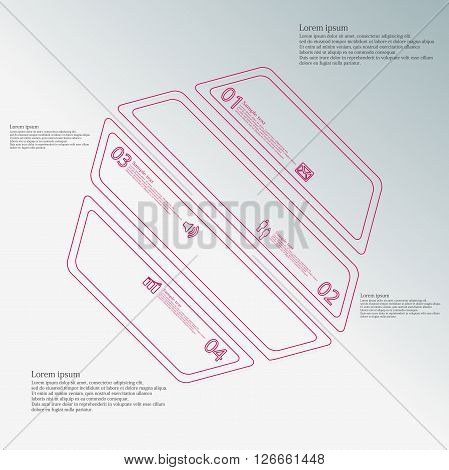 Illustration infographic template with motif of hexagon which is askew divided to four red parts created by double contour outlines. Each item contains number text and simple sign. Background is blue.
