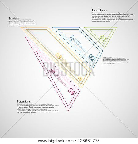 Illustration infographic template with motif of triangle which is askew divided to four color parts created by double contour outlines. Each item contains number text and simple sign. Background is light.