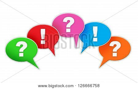 Exclamation and question signs in colored comic text bubbles