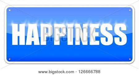 Blue card Happiness isolated over white background
