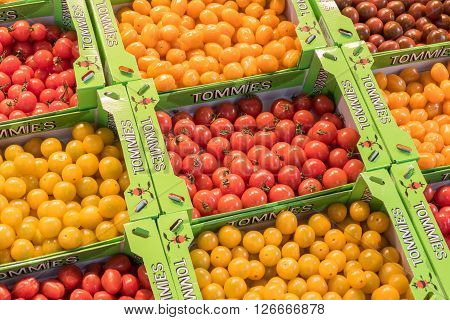 NETHERLANDS - ROTTERDAM - CIRCA APRIL 2016: Tommies cherry tomatoes. Tommies introduced 15 years ago as the first snack tomato in the Netherlands. Tommies is part of Greenco.