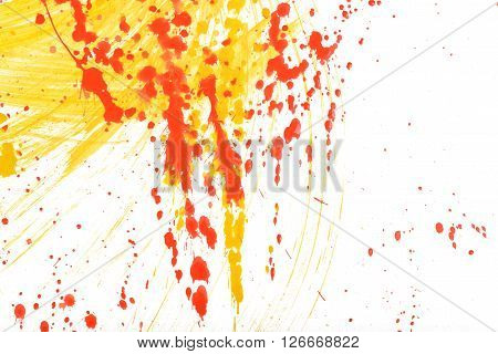 Yellow-red abstract hand-painted gouache brush stroke daub background texture