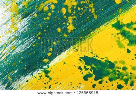 Yellow-green abstract hand-painted gouache brush stroke daub background texture