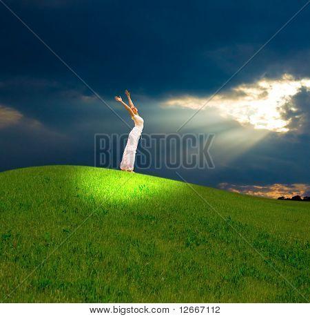 girl under heavenly light